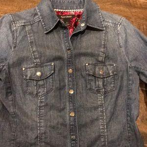 White House Black Market Denim Snap Shirt Size 2